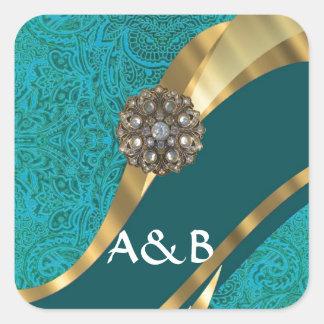 Teal green floral damask square sticker