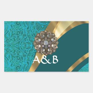 Teal green floral damask rectangular sticker