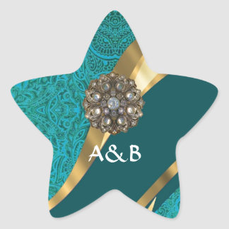 Teal green floral damask star sticker