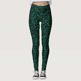 Teal Green Floral Music Notes Leggings