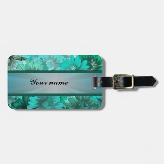 Teal green floral pattern bag tag