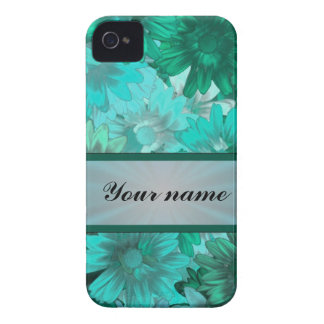Teal green floral pattern Case-Mate iPhone 4 case