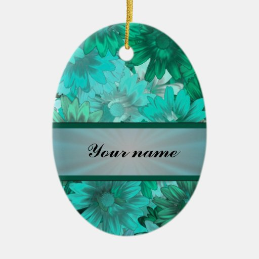 Teal green floral pattern christmas ornaments