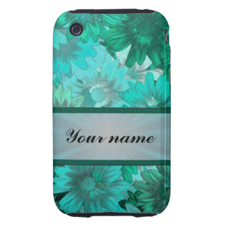 Teal green floral pattern iPhone 3 tough cover