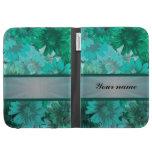 Teal green floral pattern kindle case