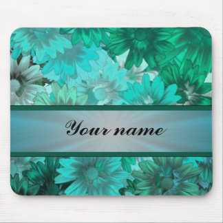 Teal green floral pattern mouse pad