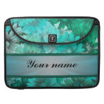 Teal green floral pattern sleeves for MacBook pro