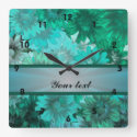 Teal green floral pattern square wall clocks