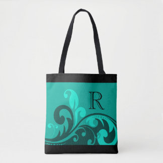 Teal Green Flourish Design with Monogram Tote Bag