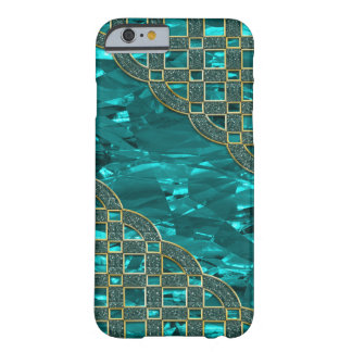 Teal Green Foil, Golden Glitter Lattice Barely There iPhone 6 Case