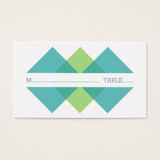 Teal Green Geometric Triad Place Card