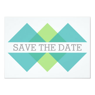 Teal Green Geometric Triad Save the Date Invite