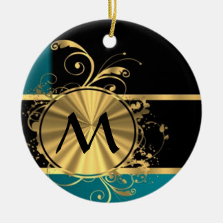 Teal green gold and black monogram Double-Sided ceramic round christmas ornament