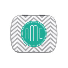 Teal Green & Gray Chevron Pattern and Monogram Jelly Belly Tins at Zazzle