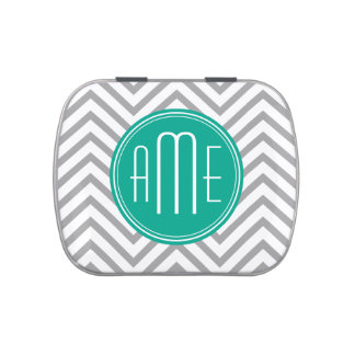 Teal Green & Gray Chevron Pattern and Monogram Jelly Belly Tins