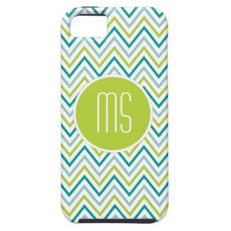 Teal Green Grey Chevron Zigzag Monogram iPhone 5 Cases