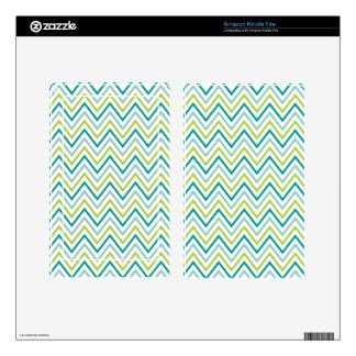 Teal Green Grey Chevron Zigzag Monogram Kindle Fire Decals