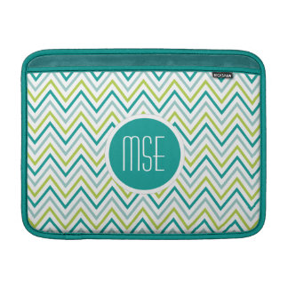 Teal Green Grey Chevron Zigzag Monogram MacBook Air Sleeve