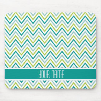 Teal Green Grey Chevron Zigzag Monogram Mouse Pad