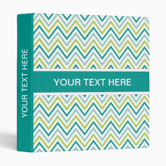 Teal Green Grey Chevron Zigzag Pattern 3 Ring Binder