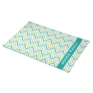 Teal Green Grey Chevron Zigzag Pattern Placemat