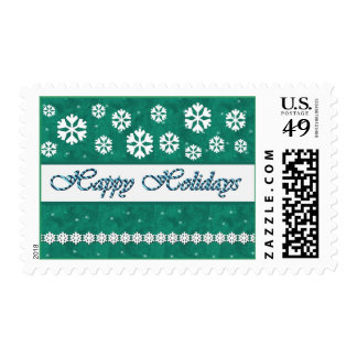 TEAL GREEN Happy Holidays Candy Cane & Snowflakes Postage