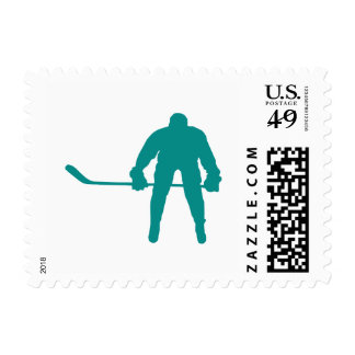 Teal Green Hockey Postage Stamp