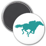 Teal Green Horse Racing 3 Inch Round Magnet