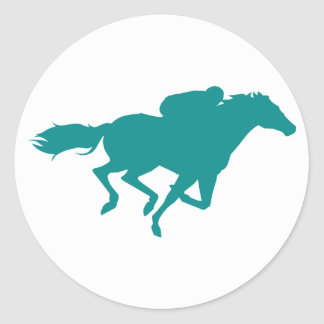 Teal Green Horse Racing Classic Round Sticker