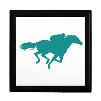 Teal Green Horse Racing Keepsake Box