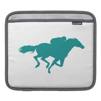 Teal Green Horse Racing iPad Sleeve