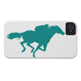 Teal Green Horse Racing iPhone 4 Case-Mate Case