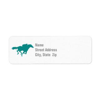 Teal Green Horse Racing Return Address Label