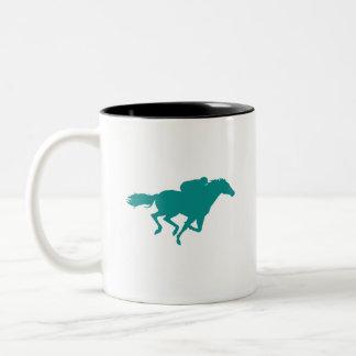 Teal Green Horse Racing Coffee Mugs