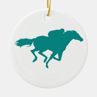 Teal Green Horse Racing Ornaments
