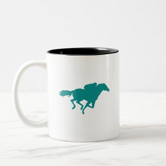 Teal Green Horse Racing Two-Tone Coffee Mug