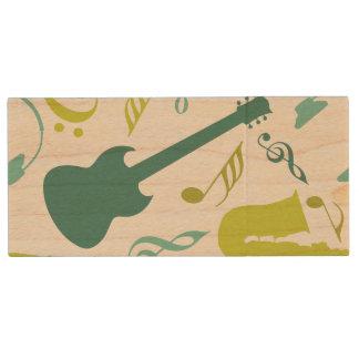Teal & Green Jazz Music Design Wood USB 2.0 Flash Drive