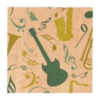 Teal & Green Jazz Music Design Beverage Coaster