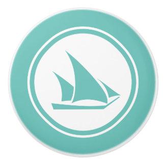 Teal Green Ketch Boat Nautical ceramic knob