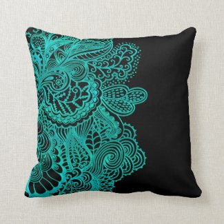 Teal Green Lace on Black Or Any Color Throw Pillow