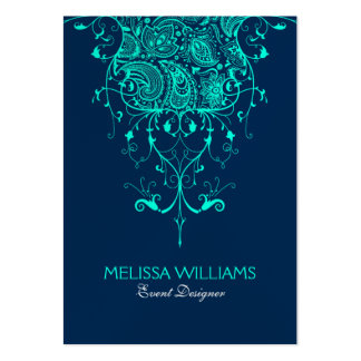 Teal Green Lace On Dark Blue Background Large Business Card