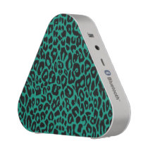 Teal Green Leopard Animal Print Bluetooth Speaker