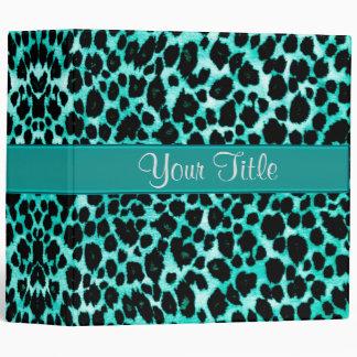 Teal Green Leopard Binder ~ Animal Print Portfolio