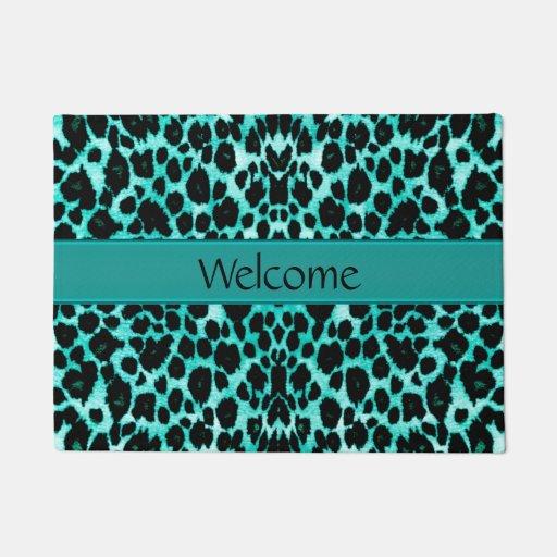 Teal Green Leopard Lover's Welcome Door Mat