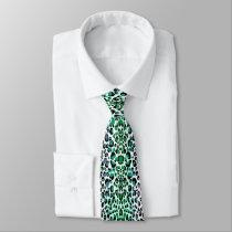 Teal Green Leopard Print Neck Tie