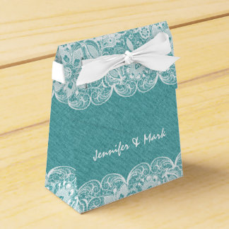 Teal-Green Linen & White Lace Bridal Gift Box