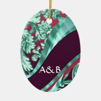 Teal green & magenta damask ceramic ornament