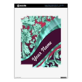 Teal green & magenta damask iPad 3 decal