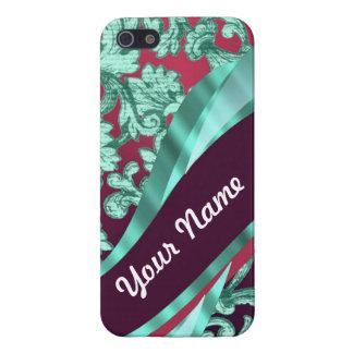 Teal green & magenta damask iPhone SE/5/5s case
