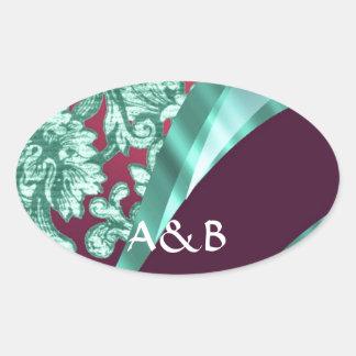 Teal green & magenta damask oval sticker